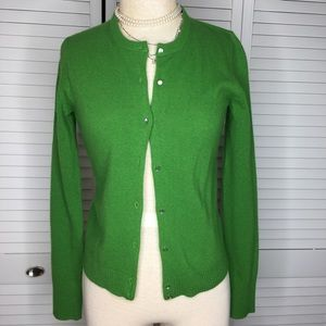 J. Crew Kelly green wool cardigan sweater